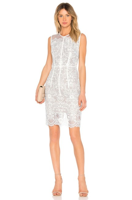 Item - White Venice Embroidered Lace Mid-length Cocktail Dress Size 4 (S)