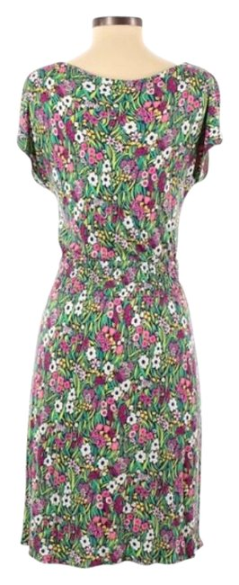 Item - Pink Green Floral Sleeve Short Work/Office Dress Size 2 (XS)