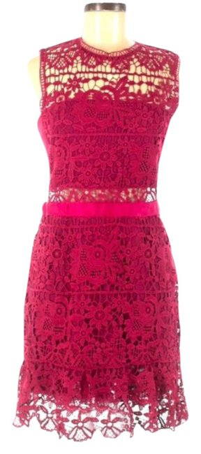 Item - Pink Red Lace Short Night Out Dress Size 10 (M)