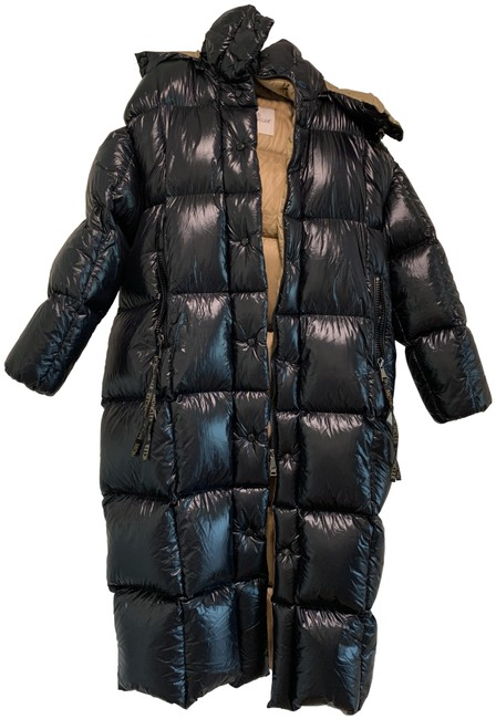 Item - Black and Beige Shiny Long Puffer Coat Size 4 (S)