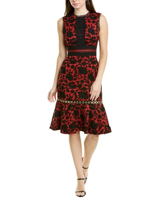 Item - Red and Black Trudi B Sheath Mid-length Cocktail Dress Size 4 (S)