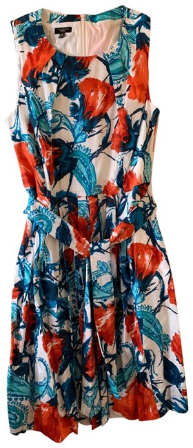 Item - Floral Shades Of Blue and Red On The Tag Short Casual Dress Size Petite 8 (M)