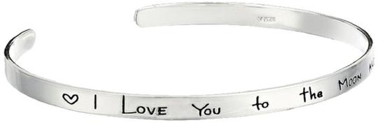 """Other Sterling Silver """"I Love You To The Moon And Back"""" Cuff Bracelet, 7"""""""