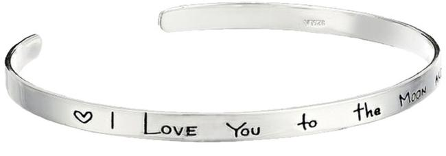 """Sterling Silver """"I Love You To The Moon and Back"""" Cuff Bracelet Sterling Silver """"I Love You To The Moon and Back"""" Cuff Bracelet Image 1"""