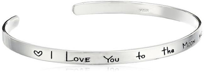"""Sterling Silver """"I Love You To The Moon and Back"""" Cuff Bracelet Sterling Silver """"I Love You To The Moon and Back"""" Cuff Bracelet Image 2"""