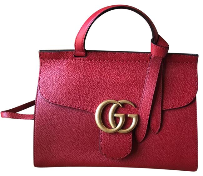 Item - Marmont Gg Top Handle Red Leather Satchel