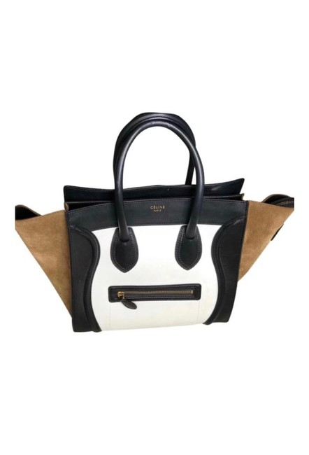 Item - Luggage Micro Tricolor Suede Leather Tote