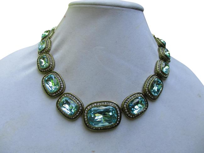 """Item - Gold & Blue """"Exquisite Elegance"""" Chunky Crystal Necklace"""
