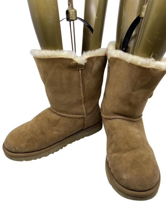 Item - Tan Wood Button Mid Height Boots/Booties Size US 7 Regular (M, B)