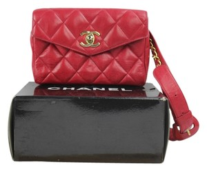 Chanel Chanel Red Classic Flap Belt Bag Chain Waist Pouch Fanny Pack