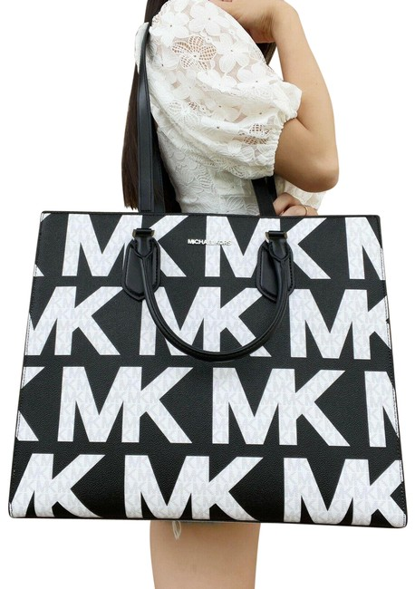 Item - Everlyn Convertible Tote Graphic Logo Mk Black White Leather Satchel