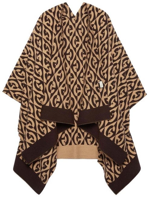 Item - Beige Brown Unisex G Rhombus Wool Cotton Poncho/Cape Poncho/Cape Size OS (one size)