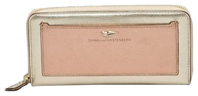 Item - Gold and Bronze Pink Leather Flirty Zip Wallet