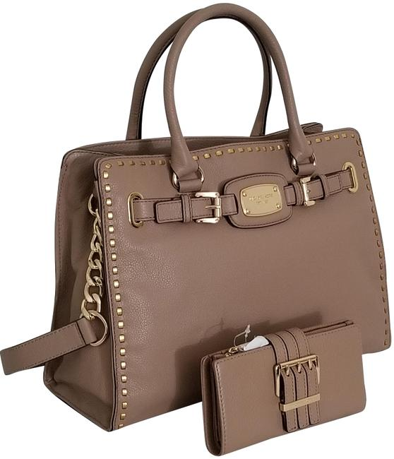 Item - Hamilton Large Satchel + Wallet (New with Tags) Dark Khaki Tan Brown/Gold Leather Tote