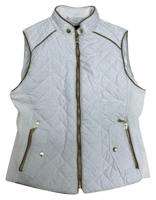 Item - White Quilted Suede Contrast Vest Size 8 (M)