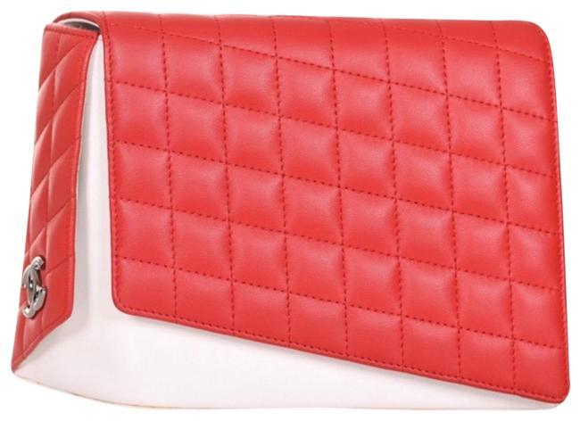 Item - & Quilted Purse Red and White Lambskin Leather Clutch