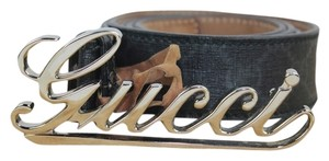 Gucci Monogram Cursive Buckle Name Plate Belt Size 40 GGTL39