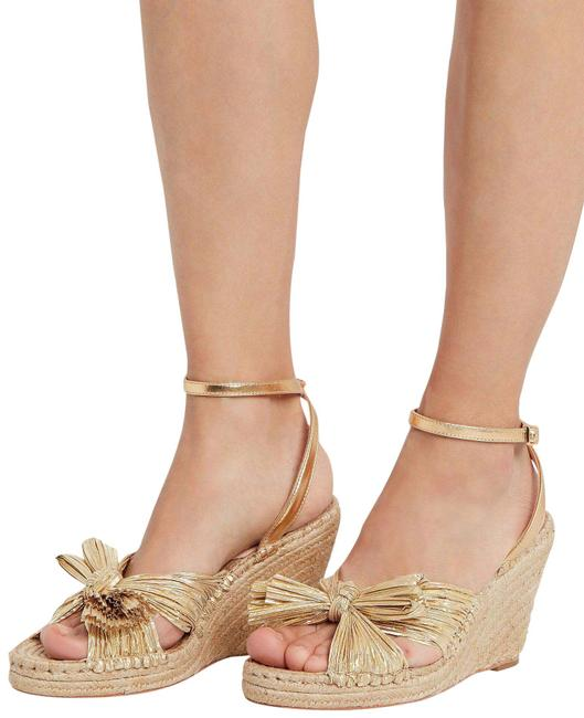 Item - Metallic Gold Charley Knotted Leather Espadrille Wedges Size US 7 Regular (M, B)