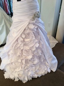 Enzoani White Taffeta Wedding Dress Size 6 (S)