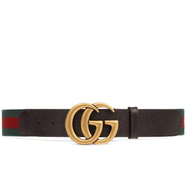 Item - Brown Leather with Red and Green Woven Fabric. Web Belt