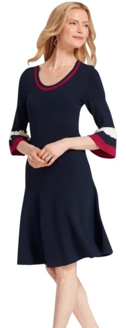 Item - Blue Red Sweater Mid-length Work/Office Dress Size 6 (S)