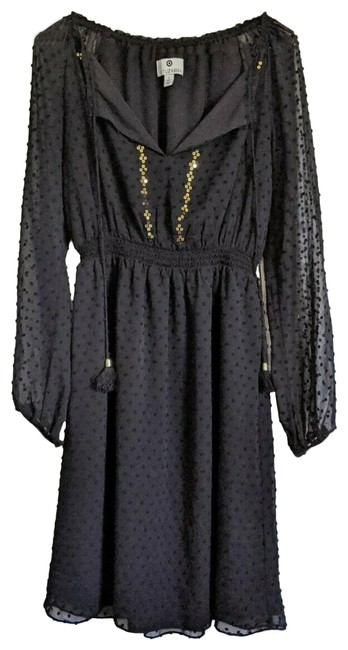 Item - Black Swiss Dot Sequin Embellished Smocked Mid-length Night Out Dress Size 2 (XS)