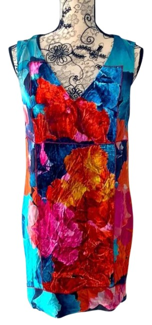 Item - Blue Red Multi Color Short Casual Dress Size 6 (S)