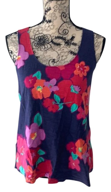 Item - Blue Pink Floral Tank Top/Cami Size 6 (S)