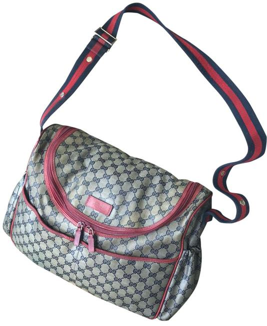 Item - Red Leather Canvas Diaper Bag