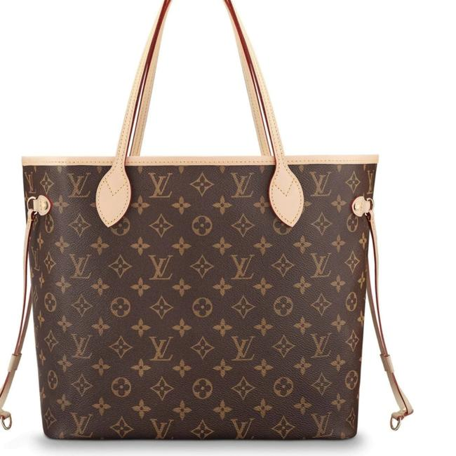 Item - Neverfull Mm Nm Mng Cerise Brown Coated Canvas Tote