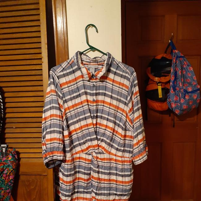Item - Flannel Red White and Blue 99249 Button-down Top Size 24 (Plus 2x)