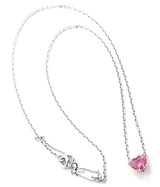 Item - 18k White Gold Heart Shaped Pink Sapphire Pendant Necklace