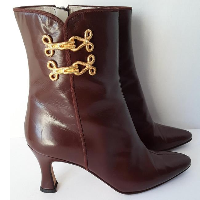 Item - Brown and Gold Quartz Leather with Frog Closures Ankle Boots/Booties Size US 7.5 Regular (M, B)