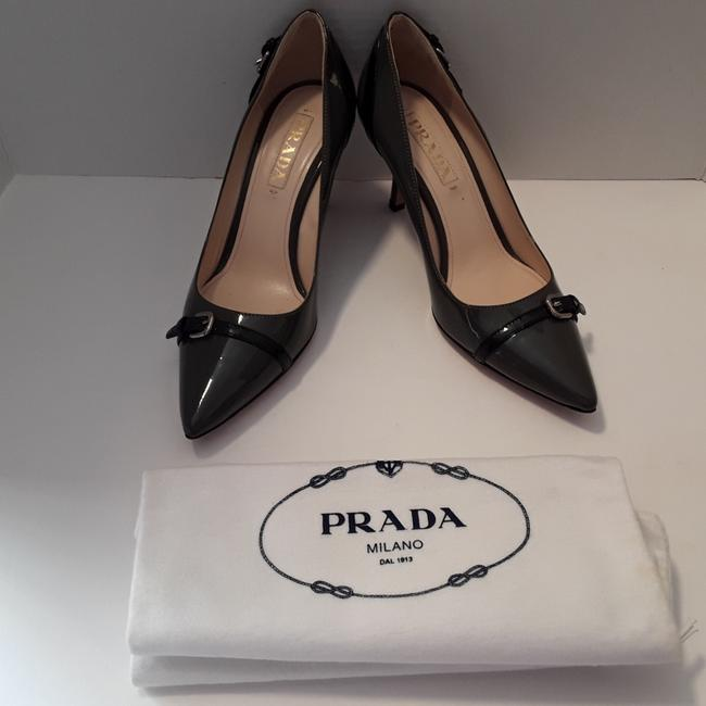 Item - Gray and Black Patent Straps Buckles Pointy Heels Italy Pumps Size EU 37 (Approx. US 7) Regular (M, B)