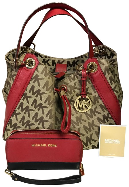 Item - And Wallet Set Red Tan Color Leather Hobo Bag
