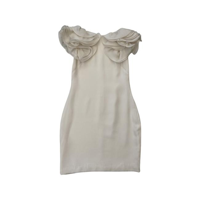 Item - White Ruffle Sleeve By Short Mid-length Cocktail Dress Size 10 (M)