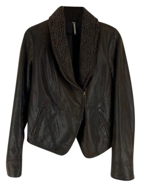 Item - Brown Leather Moto Jacket Size 8 (M)