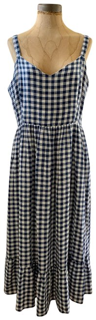 Item - Navy Gingham Cotton Mid-length Casual Maxi Dress Size 10 (M)
