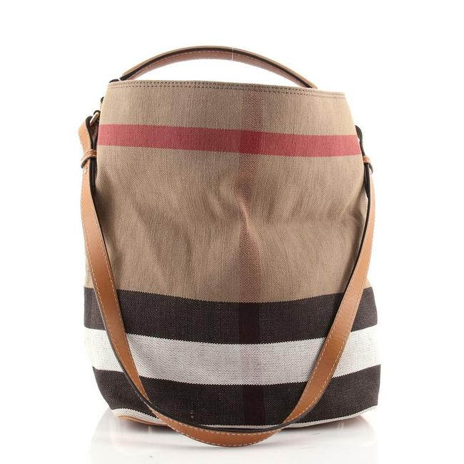 Item - Ashby House Check Medium Brown Canvas and Leather Shoulder Bag