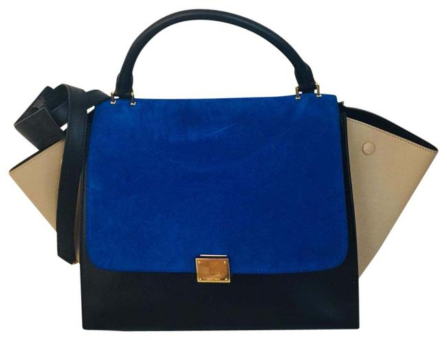 Item - Smooth Calfskin Suede Small Tri-color Black Sand Blue Leather Tote