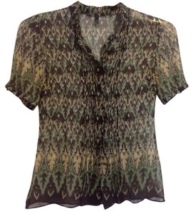 Elie Tahari Button Down Shirt Green, brown and cream
