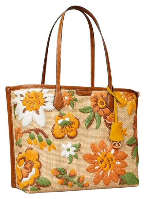 Item - Embroidered Perry Triple Compartment Multicolor Straw/Leather Tote