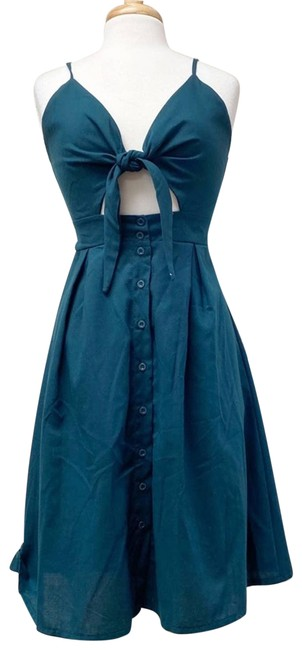 Item - Green Tie Front Cut-out In Teal Short Casual Dress Size 8 (M)