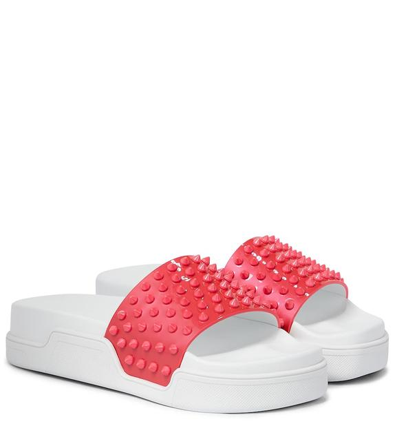 Item - Coral Pink/White Pool Fun Donna Patent Leather Spiked Slide Sandals Flats Size EU 40.5 (Approx. US 10.5) Regular (M, B)