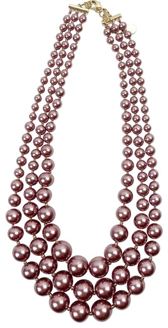Item - Pink Womens Imitation Pearl Three Row Collar Nwot Necklace