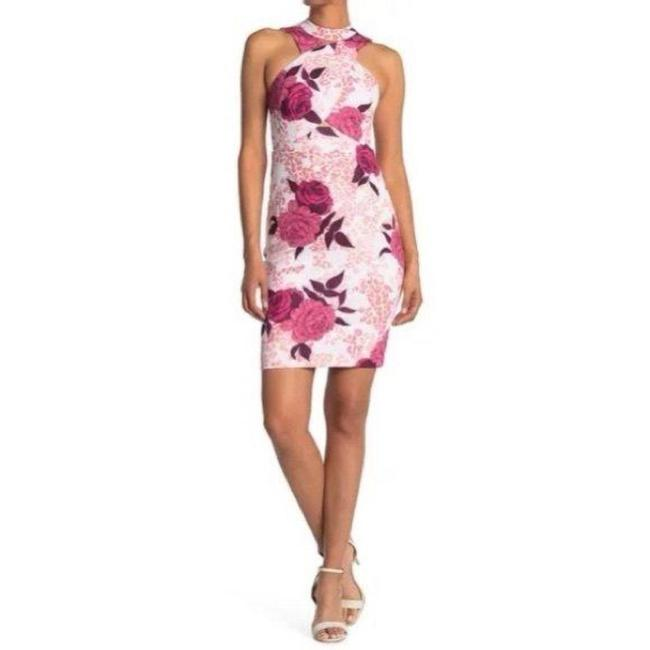 Item - Pink Red Scuba Floral-print Cutout Short Night Out Dress Size 4 (S)