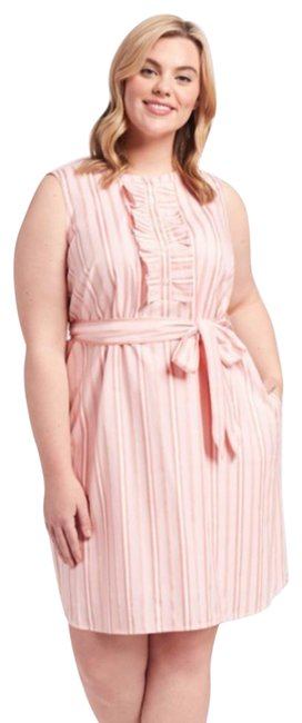 Item - Coral Belted Sleeveless Ruffle Stripe Shift Short Casual Dress Size 16 (XL, Plus 0x)