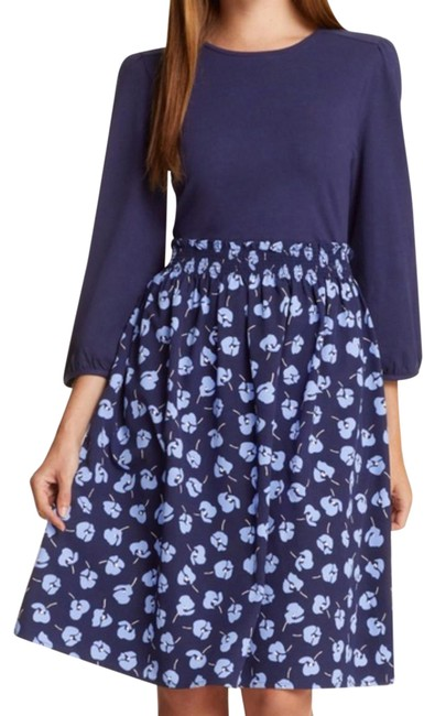 Item - Blue Long Sleeve Knit To Woven Floral Short Casual Dress Size 6 (S)