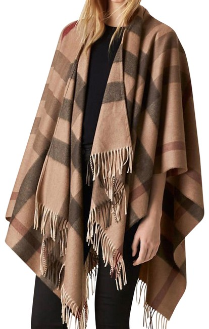 Item - Smoked Check Pattern Wool Cashmere Poncho/Cape Size OS (one size)