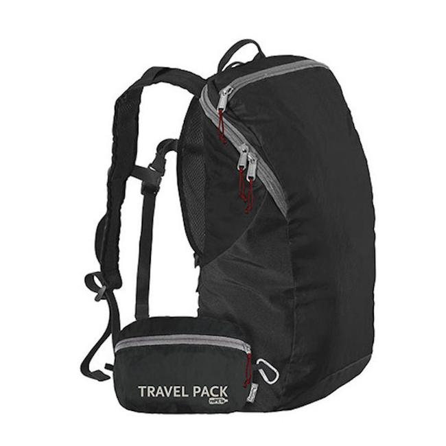 Item - Travel Pack Dark Black Grey Turquoise Lightweight Recycled Materials Backpack